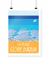 Côte d'Azur Beach poster illustrated by Eric Garence