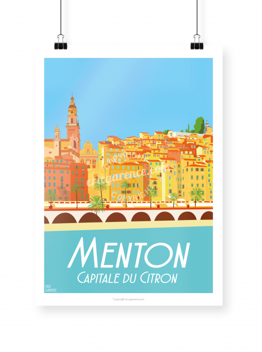 Menton poster illustrated by Eric Garence
