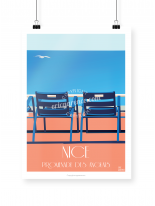 Nice Blue Chairs poster illustrated by Eric Garence
